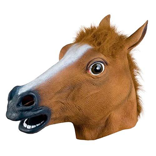 QHJ Halloween Accessoires, Halloween Maske Pferdekopf Maske Latex Tier Kostüm Prop Gangnam Style für Halloween Pferdekopf Maske (Braun)