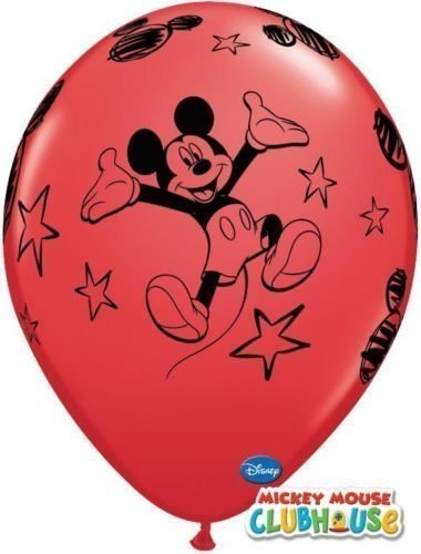 Mickey Mouse no mensaje rojo 12 'Qualatex globos de látex x 6