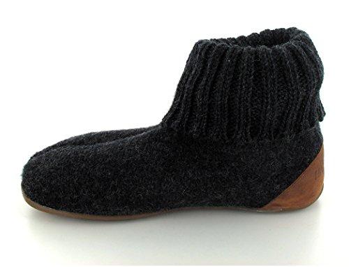 HAFLINGER Luxus Hüttenschuh   Hausschuhexperte   mit Fußbett   Gummisohle   Damen & Herren graphit/braun