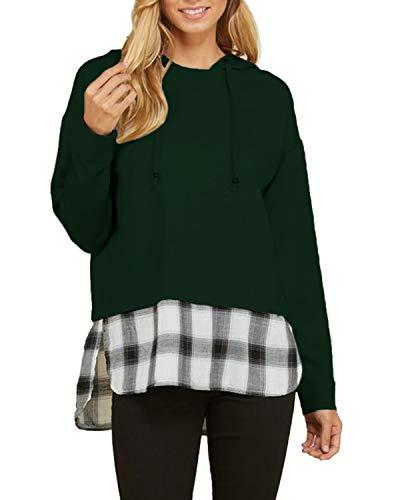 ACHIOOWA Damen Sweatshirt Langarm Kapuzenpulli Pullover Oversize Strickjacke Karierte Hoodie Jacke Armee grün23902 Small Armee Pullover Hoodie