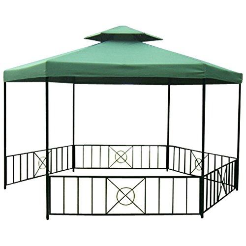Pavillon SIENA 6-eckig, Stahlgestell schwarz, Dach dunkelgrün wasserdicht