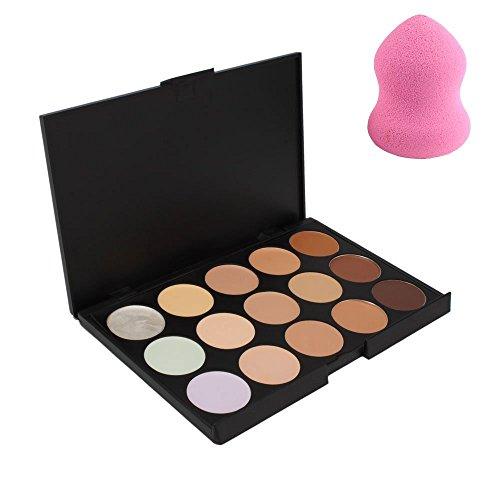 Boolavard® 15 couleurs Crème Contour Maquillage Correcteur Palette + Poudre Éponge