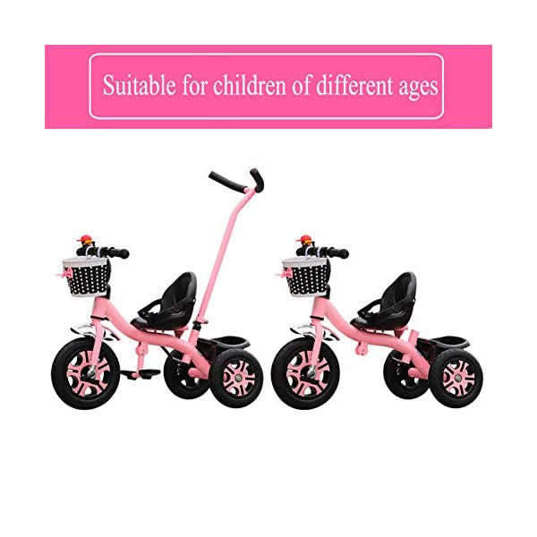 GSDZSY - Children Tricycle 3 Wheel Bike 2 In1, With Removable Push Handle Bar,EVA Soft Wheel, Non-slip Pedal, Rear Wheel With Brake,2-6years,Pink GSDZSY  3