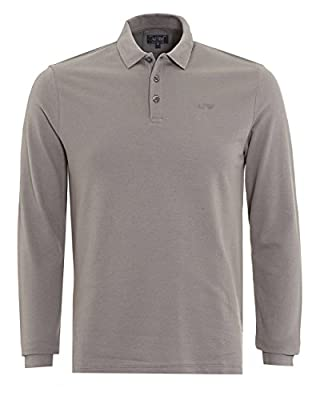 Armani Jeans Mens Long Sleeve Charcoal Grey Logo Polo