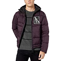 A|X Armani Exchange Men's Ribbed Puffer Jacket with Hood and Stripe Down Back, Night Shade, XL