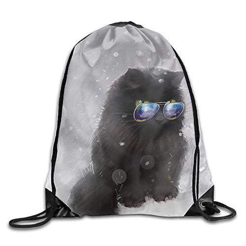 ZHIZIQIU s Gray Cat Sunglasses Drawstring Bags Portable Backpack Pocket Bag Travel Sport Gym Bag Yoga Runner Daypack -