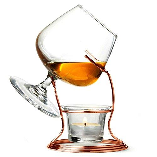 Kupfer cognac & Brandy Wärmer mit Glas–Geschenk Box Brandy Wärmer Set