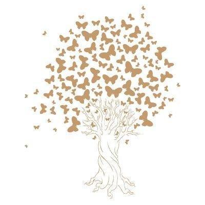 TODO-STENCIL Stencil Deko Blumen 030 Baum Schmetterlinge Stencil Grösse: 20x30 cm Design Grösse: 18x22,4 cm