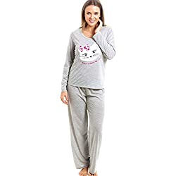 Camille Conjunto de pijama largo - Motivo gato - Gris 46