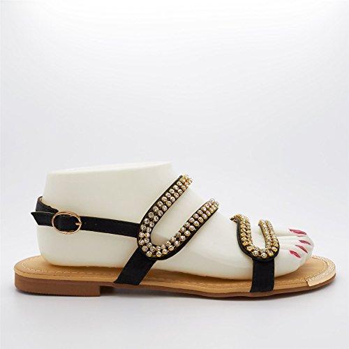 London Footwear , Damen Sling Backs Schwarz
