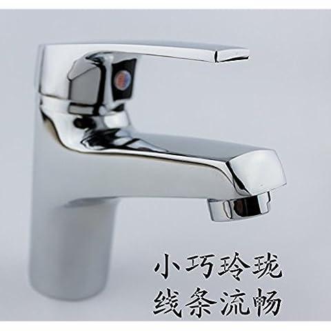 bfdgn semplice e resistente rame spazzolato bacino singolo foro calda e fredda doccia toilet-table lavabo (Heater Hose Valve)