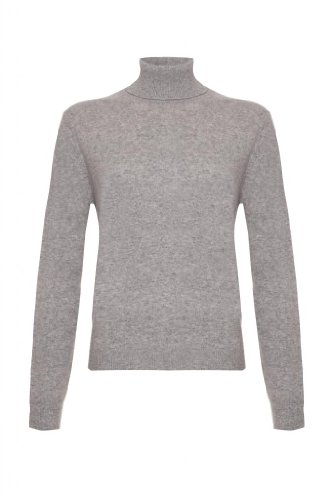 Polo-Maglione da donna a collo alto Cashmere grigio 44