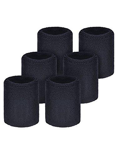 Willbond 6 Pièces Serre-Poignets Bracelets Poignet pour Sports Sweatbands Absorbants pour Le Foot-Ball Basket-Ball, Sport Athlétique Fonctionnement (Noir)