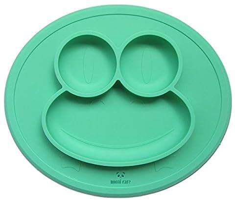 Nooni Care Set de table avec assiette compartimentée antidérapant, en silicone alimentaire pour nourrisson et assiettes pour bébé, parfait pour la diversification alimentaire gérée par bébé, de 6 mois et plus