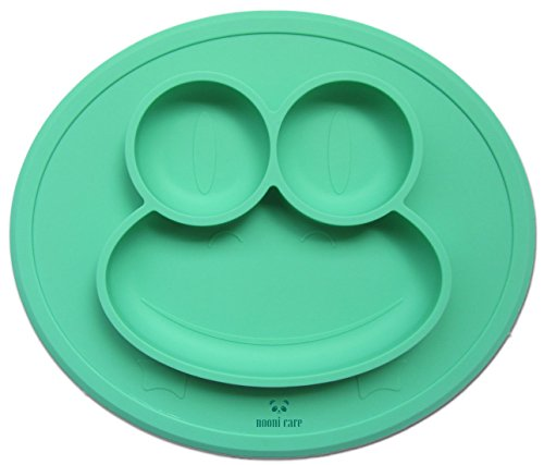 nooni-care-kids-placemat-divided-suction-plate-food-grade-silicone-toddler-and-baby-plates-pastel-gr