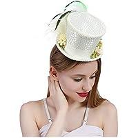 HYF Sombrero del té del Sombrerero Loco del Sombrero del té del Sombrero de  Copa Blanco b8287c7139a