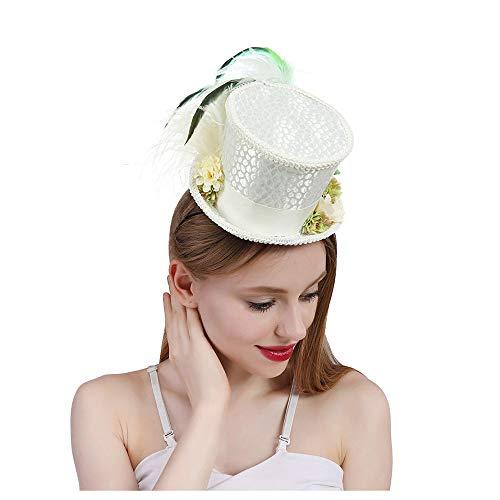 VAXT Kentucky Derby-Hut, Braut-Hut, Tee Hut Mad Hatter Tee Hut, Minirock Zylinderhut, weißer Minirock Zylinderhut (Farbe : Weiß, Größe : 25-30cm)