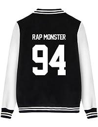 ShallGood Femme Automne Mode Nouvelles BTS Fans Blouson Cool Bomber Veste Aviateur Classique Matelassé Manteaux Baseball Jacket Coat Court Outerwear