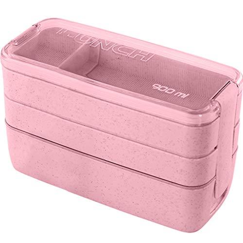 VNEIRW 3 Schichten Weizen Stroh Bento Boxen Microwaveable Lunch Container mit Deckel und Gabel, Bequem Aufbewahrungsbox Lunchbox Mittagessen Box Geschirr 900 ml (Rosa ) - Erwachsenen-lunch-box Rosa