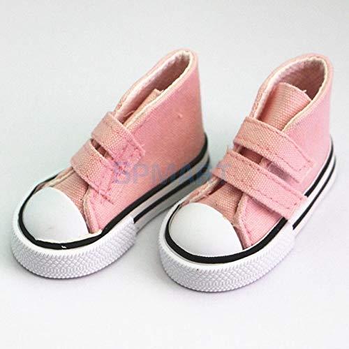 DishyKooker 6 Farben Paar Sticky Strap High Top Canvas Sneaker Schuhe für 1/4 1/3 BJD SD Puppengröße Zubehör Kollektionen Rose -