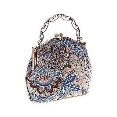 Frauen in Handarbeit Hochwertige Retro Blume Perlen Party / Abend Tasche Blue