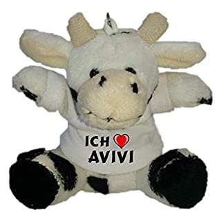 SHOPZEUS Plüsch Kuh Schlüsselhalter mit T-Shirt mit Aufschrift Ich Liebe Avivi (Vorname/Zuname/Spitzname)