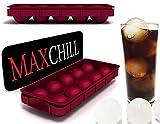 maxchill Cannon Ball ghiaccio sfera Maker by homequip | Eco-friendly 10cavità stampo per ghiaccio in silicone di qualità alimentare, progettato per tutte le misure e bevande in vetro con Free Imbuto e posizionamento vassoio in Borgogna