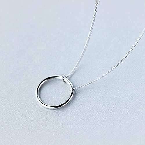 925 Sterling Silber Hochglanzpolierter Lebenskreis Anhänger Halskette Kette 18inch Sterling-Silber-Schmuck (Silber-kette In 18)
