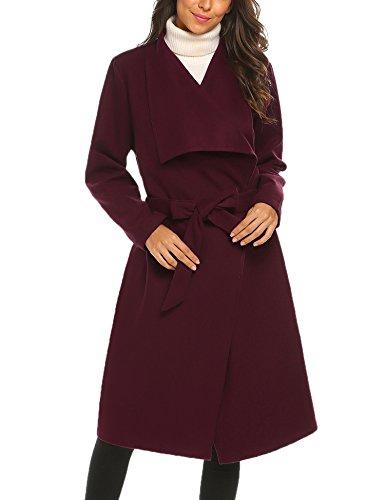 Chigant Damen Wasserfall Knielang Mantel Trenchcoat Cardigan Übergangsmantel mit Gürtel