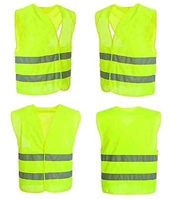 4 Stück Warnweste Sicherheitsweste Neon Gelb Warnwesten KFZ EN 471 Signalweste Unfall-Weste STAR-LINE® Knitterfrei, Waschbar - Sicherheit-Weste mit Reflektorstreifen und Klettverschluss Universalgröße