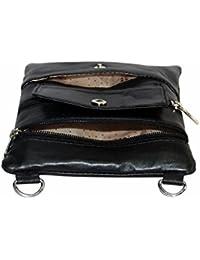 NAZ Women Black Leather Messenger Bag