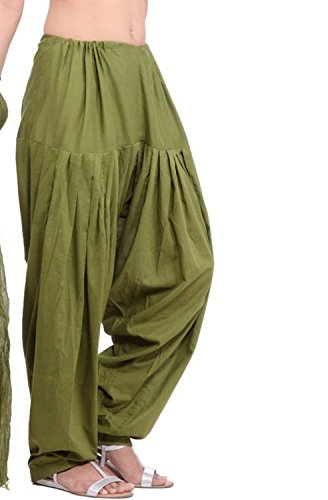Kalpit Creations Women\'s Plain Cotton Punjabi Patiala Salwar Bottom Pants for Traditional Look, Free Size(Mehendi Green kalpit_semi-patiyala)