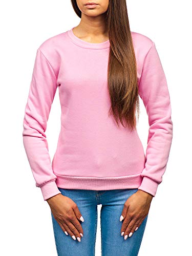 Rosa Damen Sweatshirt (BOLF Damen Sweatshirt ohne Kapuze Aufdruck Rundhalsausschnitt Sportlicher Stil J.Style W01 Rosa M [A1A])