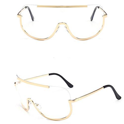 Whycat Damen Einteilige Sonnenbrille, Futuristisch Wrap Around Neuheit Cyclops Robocop Street Shot Sonnenbrille Dame(klar)