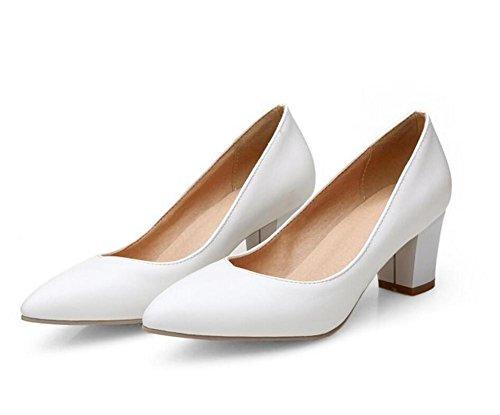 Scarpe a punta Shallow Scarpe bocca Court Primavera E pattini di lavoro autunno spessi delle donne con taccoS white