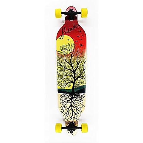 Paradox Bamboo Longboard Drop-Through Downhill Freeride Monopatín Skateboard (107 cm)