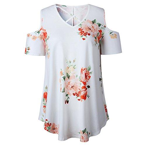 Vertvie damen Cut Out Schulter T-shirt Floral muster Blusen beiläufige mit Schnürung Vorne reizvoll loose Tunika Weiß