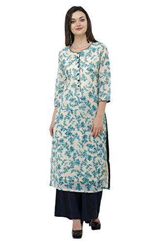 IndiWeaves Mundal Chanderi Rama Green Casual/Party wear Printed Kurti/Kurta for Women_Size-X-Large_CH 05-IW-XL
