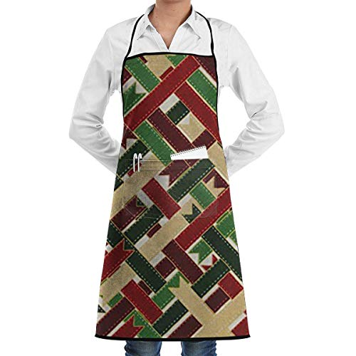 Drempad Unisex Schürzen, Christmas Ribbon Wrap Candy Cane Aprons for Women with Pockets Water Resistant Adjustable Kitchen Aprons Dish Washing Grooming Chef Aprons -