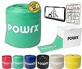 POWRX Elastici Fitness »Senza Lattice« Ideali per Esercizi di Ginnastica, Fisioterapia, Yoga e Pilates - Ottimi Anche per potenziamento Muscolare - Colore e Resistenza a Scelta + PDF Workout (Verde)