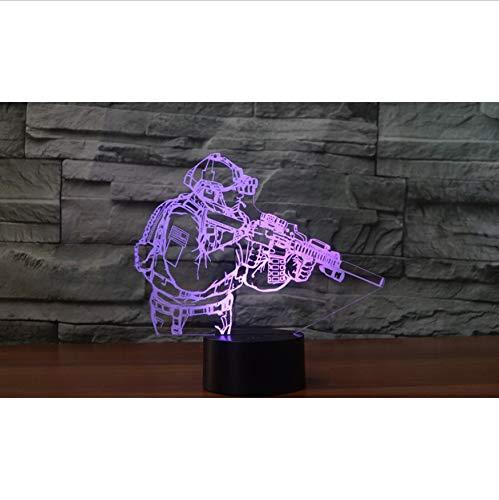 Nachtlichter 3D 7 Farbwechsel Kämpfer Form Led Usb Touch Schalter Pistole Schreibtisch Tischlampe Als Wohnkultur Acryl Kinderzimmer