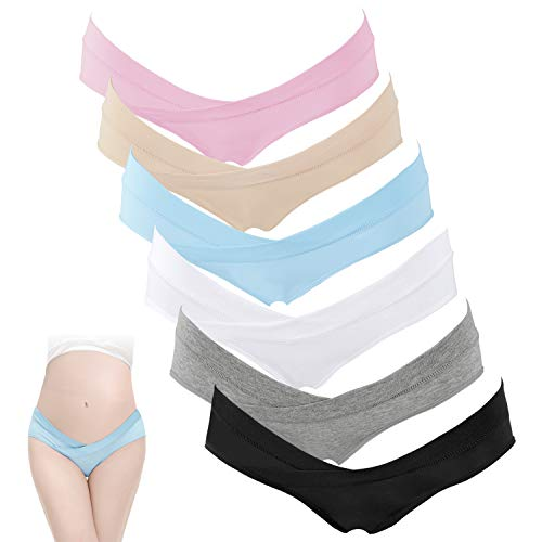 HBselect Unterhosen für Schwangere Umstandsmode Hösschen Damen Niedrig-Taille V-förmige Unterwäsche aus Baumwolle Schwangerschaft Postpartum Slip (rosa, beige, blau, weiß, grau, schwarz, L)