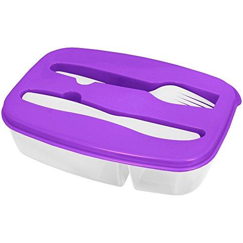 Promobo - Lunch Box Panier Repas Boite Alimentaire Deux Compartiments Et Couverts Violet