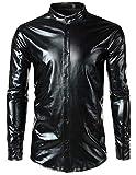 WHATLEES Herren Party Fasching PU Leder Optic Hemden Stehkragen Kunstleder Karneval Fastnacht, Ba0128-black, L