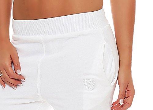 Gennadi Hoppe Damen Jogginghose Trainingshose Sweat Pants Sporthose Fitness Hose Weiß