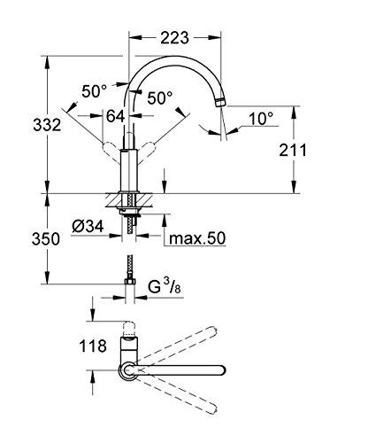 Zoom IMG-2 grohe 31367000 bauedge miscelatore monocomando