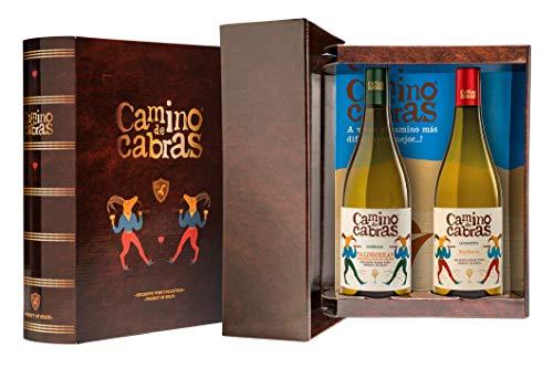 Camino De Cabras Estuche Regalo - Producto Gourmet - Vino Blanco - Godello Valdeorras + Albariño Rias Baixas - Vino Bueno Para Regalo - 2 Botellas X 75cl