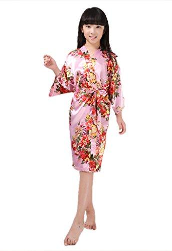Mädchen-seiden-pyjama (Joyplay Kinder Mädchen Seide Morgenmantel Nachtwäsche Kurze Kimono Robe Pyjamas 3/4 Ärmeln Bademantel mit Pfau Blumen Muster in Verschiedenen Farben kurz Rosa)