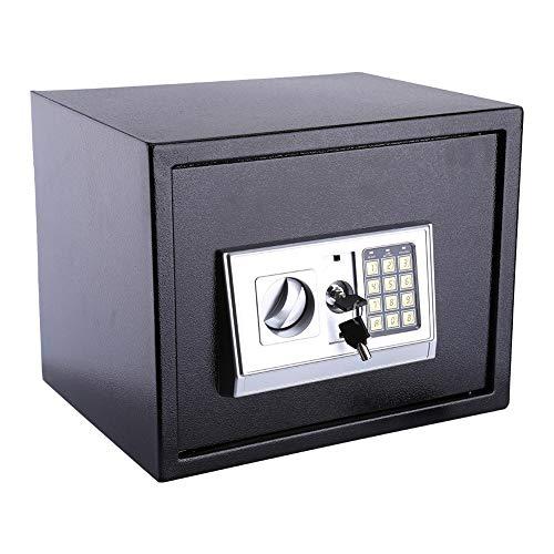 GOTOTOP 20L Caja Fuerte Digital Pequeña para casa,para Montaje en Pared o Suelo,para Proteja Dinero, Efectivo, Monedas, Joyas, Llaves,Color Negro