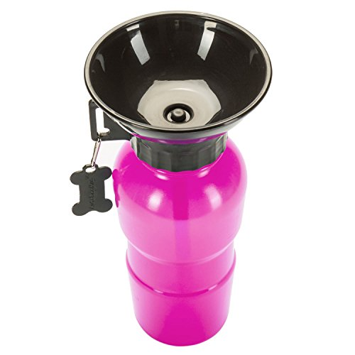 Hunde Trinkflasche mit integriertem Trinknapf Reise Wasserflasche Auto Hundeflasche mit Wasser-Napf 600ml; Rot